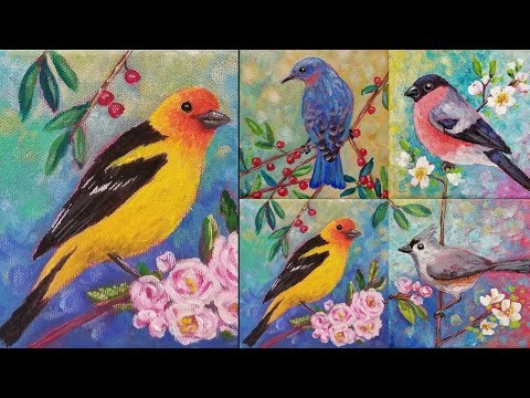 Western Tanager Acrylic Painting Tutorial Songbird Mini Canvas Series LIVE