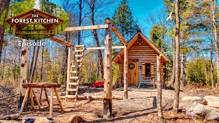 The Forest Kitchen at the Off Grid Log Cabin Build, Ep. 1: Timber Frame