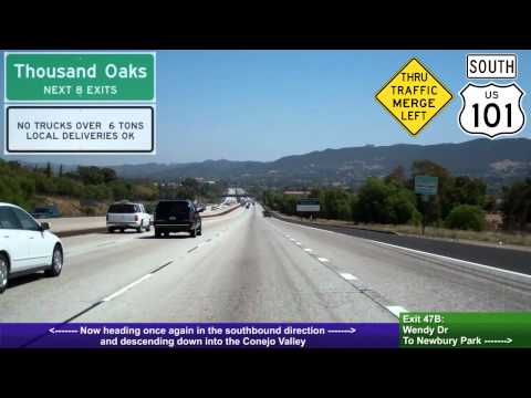 US 101 South (CA), Conejo Grade, Ventura Freeway, Mile 53 to Mile 42