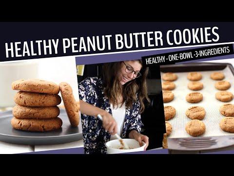 HEALTHY PEANUT BUTTER COOKIES | One-Bowl + 3-Ingredients!