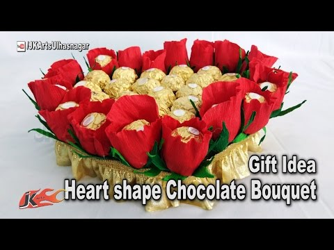 How to Make Heart shape Chocolate Bouquet | Mother's Day Gift Idea | JK Arts 1183