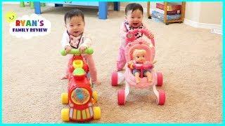 Twin babies race on walker playtime! Baby nursery rhymes songs music video