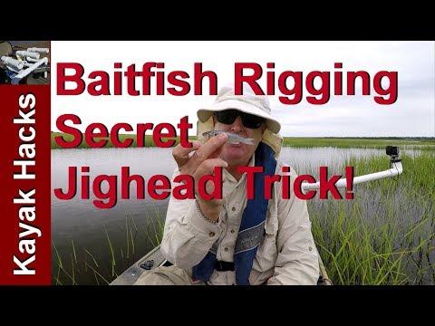 How to Rig Mullet or Baitfish for Bait - Secret Jighead Trick!