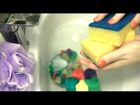 ASMR Sponge Sounds Soap Sudsy Water Soapy Sponges scratching squeezing Lather Foam Loofah асмр мыло