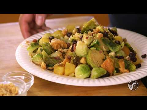 Caramelized Brussels Sprouts with Pineapple & Mac Nuts