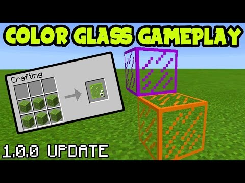 Minecraft Pocket Edition 1.0 Update How To Make STAINED GLASS // Stained Glass Addon Minecraft PE