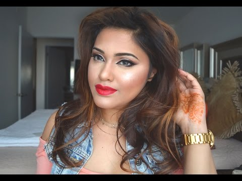 Valentines day look- Red Lips and Cat eyes- On Indian/Bengali skin tones