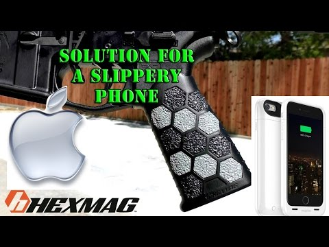 Solution for a slippery phone HexMag Grip Tape on a mophie battery case