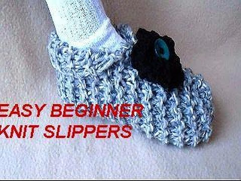 HOW TO KNIT SLIPPERS,  BEGINNER LEVEL, easy unisex slippers to knit