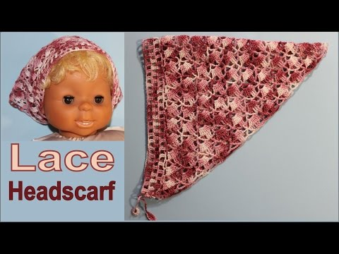 How to crochet Lace Headscarf  part 1 wikacrochet #Headscarf