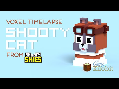 Speed Model of Shooty Cat from Shooty Skies in MagicaVoxel