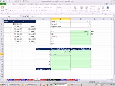 Excel Finance Class 79: Investment Criteria: NPV, IRR, Payback, AAR, Profitability Index