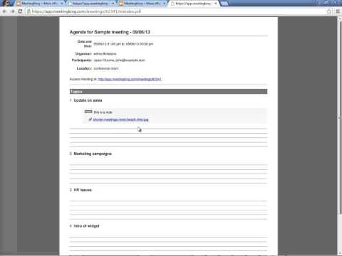 Meeting agenda and meeting minutes templates