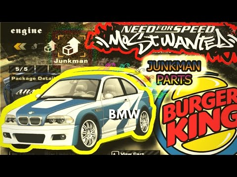 NFS Most Wanted 🍔Burger King Challenge ~ Unlock All Junk Man Parts 🛠