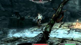 Skyrim Gameplay - Archer versus Hagraven, Forsworn Ravagers feat. Distraction Dragon