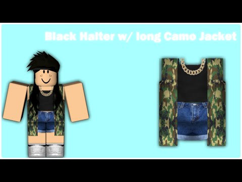 [SPEED DESIGN] Black halter w/ Long camo jacket