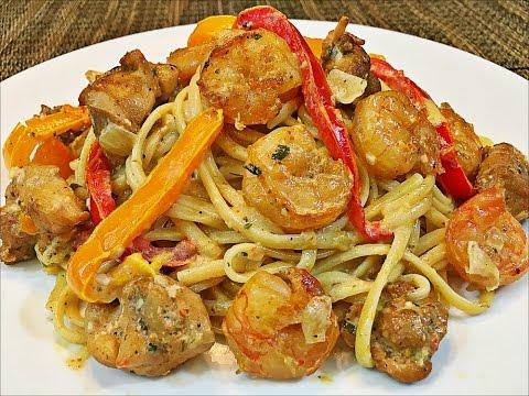 Cajun chicken and shrimp pasta recipe -- Creamy and easy pasta recipe