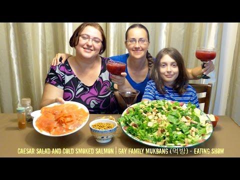 Caesar Salad And Cold Smoked Salmon | Gay Family Mukbang (먹방) - Eating Show