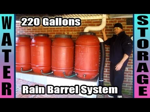 Rain Barrel System 220 Gallons SHTF Water Storage Prepper Survivalist how to build make