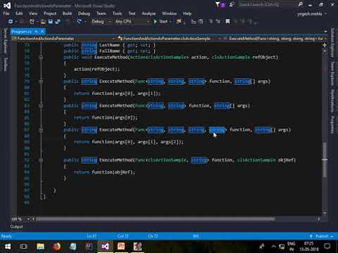 Passing function as argument to other function using c#