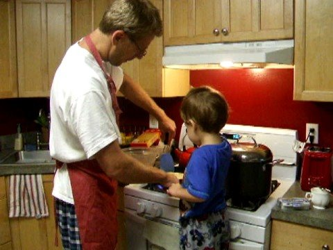 Me and little Oliver making Russian blini