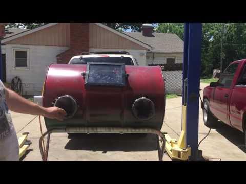 Home made 55 gal sandblasting barrel