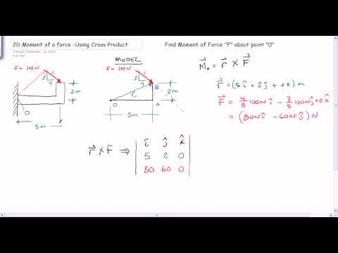 2D Moment using Cross Product