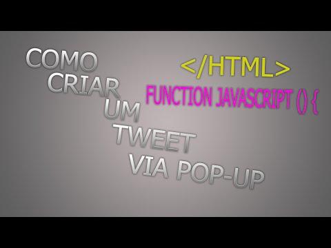 [ Java Script - HTML ] Tutorial de como criar um pop-up de tweet atraves de um botao