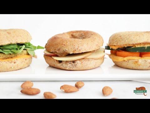 Bagel Sandwiches 3 Ways! Quick & Healthy Lunch Recipes | Alvarado Street Bakery