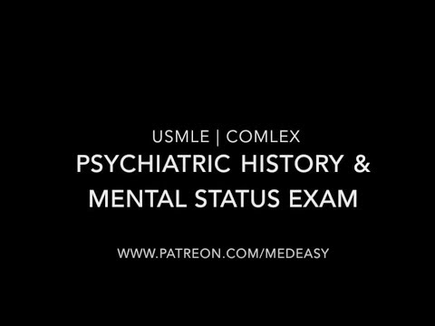 Psychiatric History Taking and The Mental Status Examination | USMLE & COMLEX