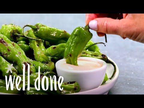 Charred Shishito Peppers With A Sriracha Aioli | Recipe | Well Done