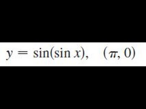 y = sin(sin x), (pi,0) Find an equation of the tangent line to the curve at the given point.