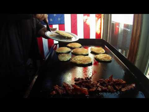 Blueberry pancakes and bacon on the Blackstone griddle.