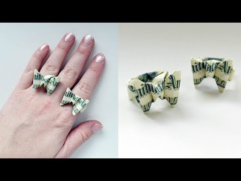 Money Ring Butterfly Origami Dollar Jewelry Tutorial DIY Folding No glue and tape