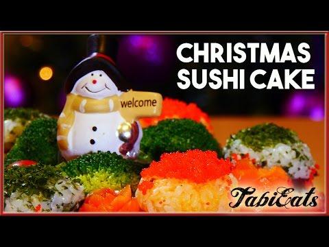 Christmas Sushi Cake (RECIPE) 【たまには豪華に】クリスマスケーキ寿司を作りました