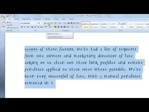How to change fonts and font size in Microsoft word 2007