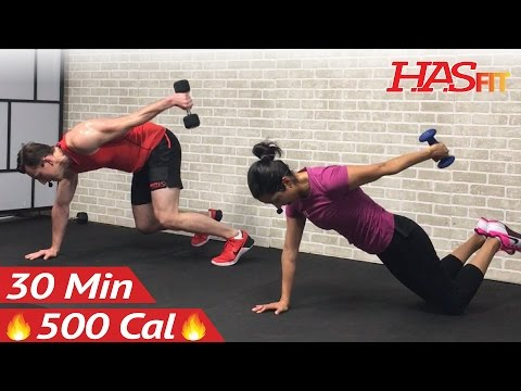 30 Minute HIIT Workout for Fat Loss & Strength - Dumbbell Full Body HIIT Home Workout with Weights