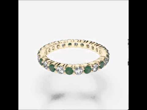 Yellow Gold Emerald Diamond Eternity Ring   YGold Emerald Eternity Ring 1111