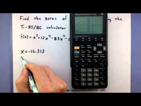 Pre-Calculus - Find the zeros of a polynomial using the TI-85/86 calculator (2)