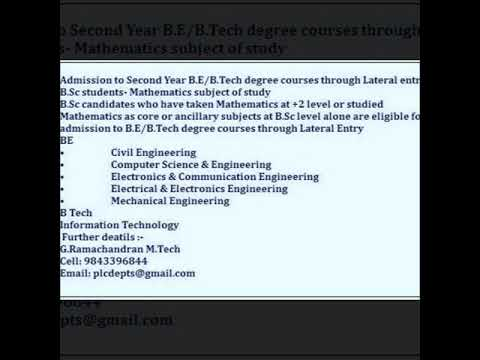 Admission to Second Year B.E/B.Tech degree courses through Lateral entry  college in Tamilnadu