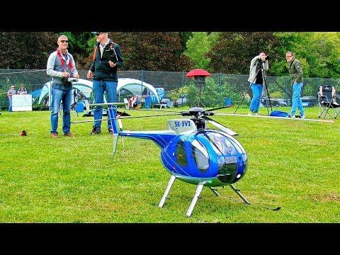 AMAZING BIG RC HUGHES-500 RC SCALE MODEL ELECTRIC HELICOPTER FLIGHT DEMONSTRATION