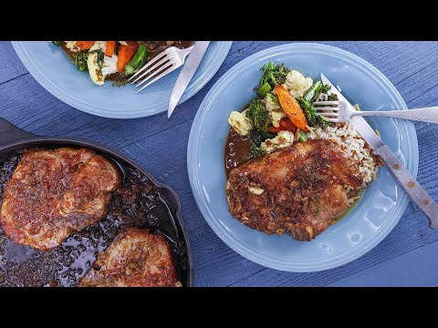 Orange-Glazed Pork Chops, Roasted Vegetable Medley and Almond Rice Pilaf