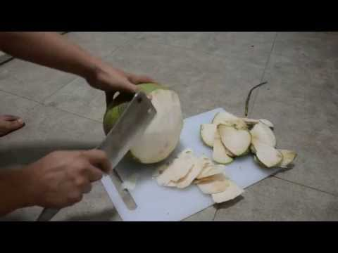 How to cut open a young coconut