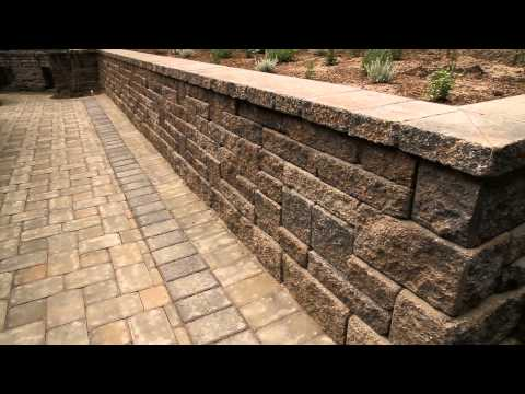 Europa Allan Block Retaining Wall with Concrete Permeable Paver Patio