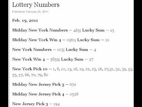 Lottery Numbers for New York, New Jersey and Connecticut