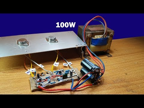 How to make 100W amplifier circuit using two transistors 2N3055