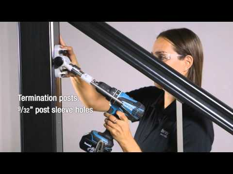 CableRail Installation: Lag Fittings in Stair Railing with Composite Sleeved Wood Posts