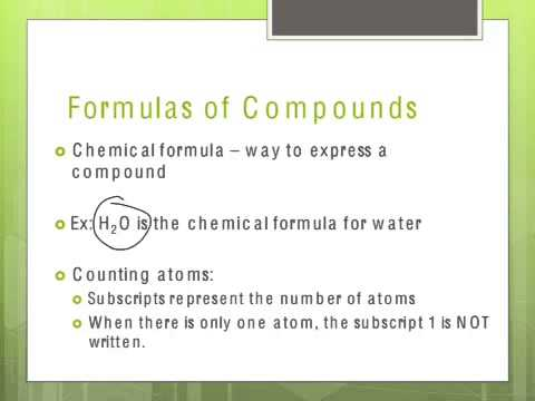 Counting atoms & intro to formulas