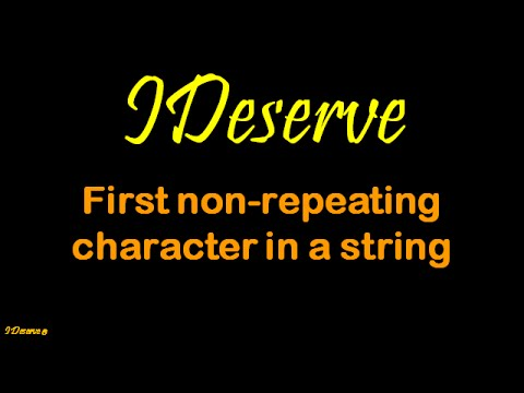 First non repeating character in a string