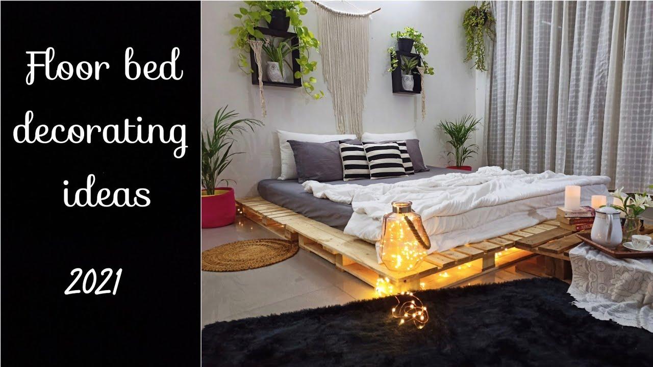 Floor Bed Decorating Ideas | DIY Pallet Bed At Home | Bedroom Decorating Ideas |Floor Bed Ideas 2021